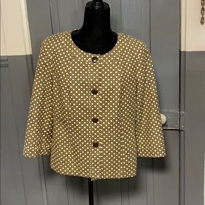 Talbots Brown & Cream Printed Button Front Jacket